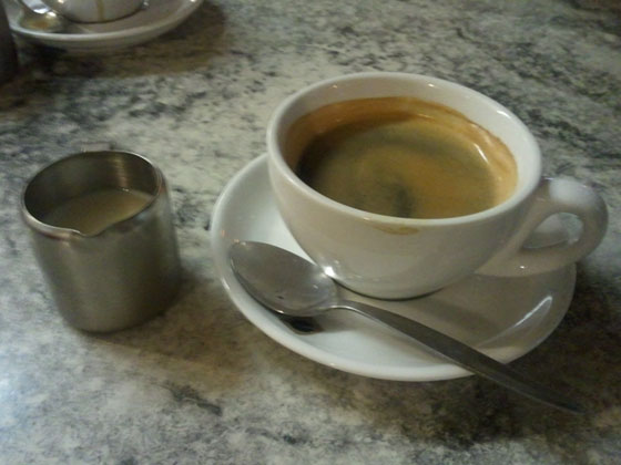 Long Black with milk at Cafe Mondial