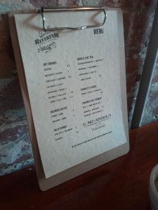 Reverend's menu, food to come soon